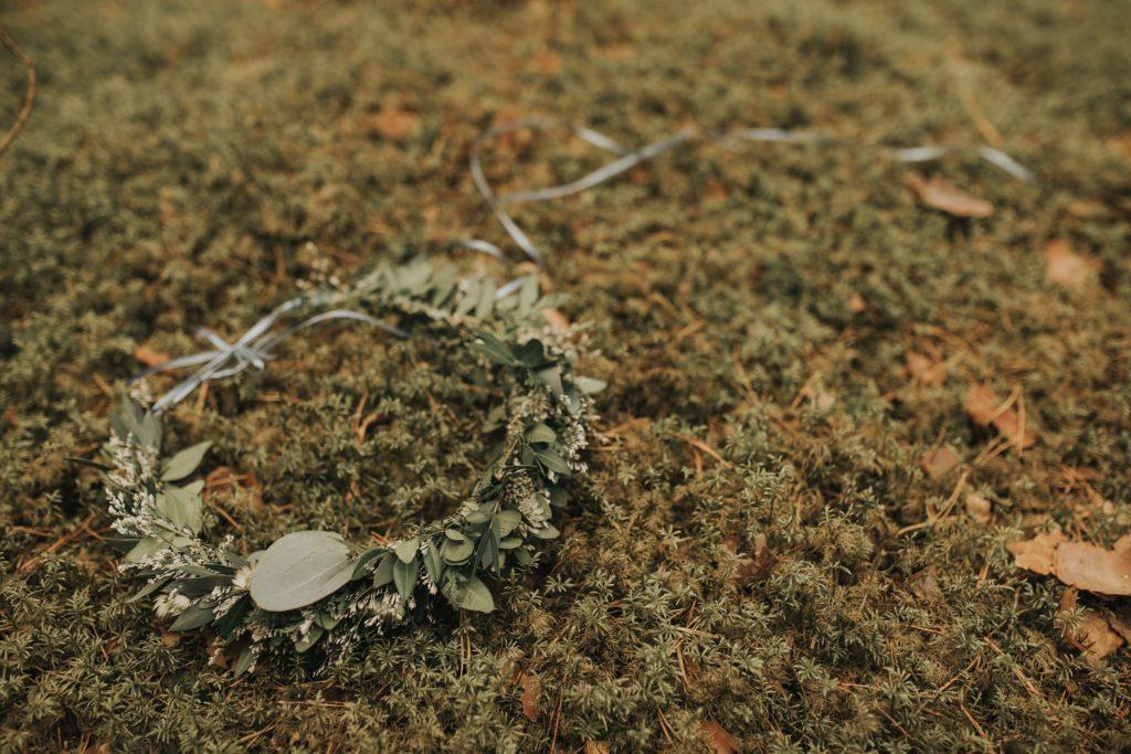 Podlasie wianek mech trawa zieleń fotografia ślubny